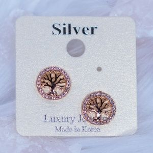 Gold Tree of Life Stud Earrings